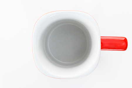 Empty coffee cup. Above view. Isolated on white background Stock Photo