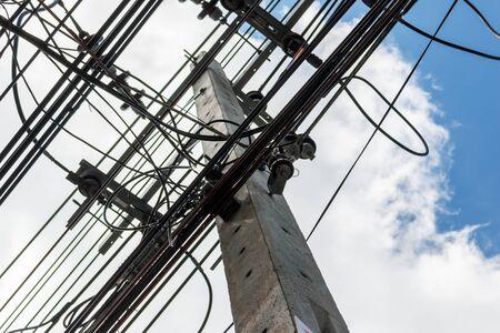 samutprakarn: Many wires on an electric pillar in samutprakarn, Thailand