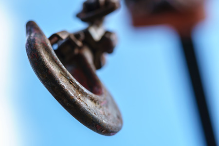 Close up crane hook on blue sky background Stock Photo - 69558599