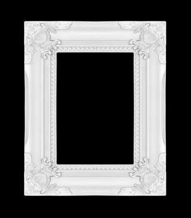 silver picture frame. Isolated on black background photo