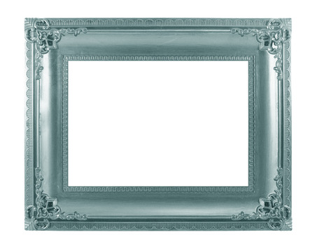Green picture frame. Isolated on white background photo