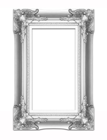 silver picture frame .Isolated on white background photo