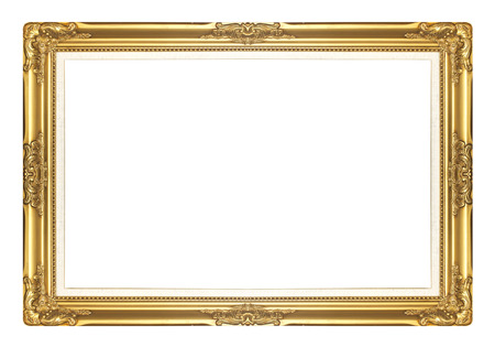 gold antique  picture frames. Isolated on white background