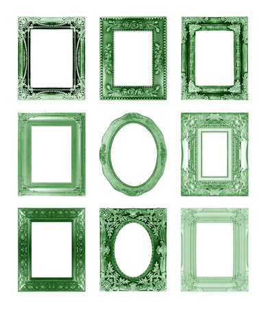 green antique vintage  picture frames. Isolated on white background photo