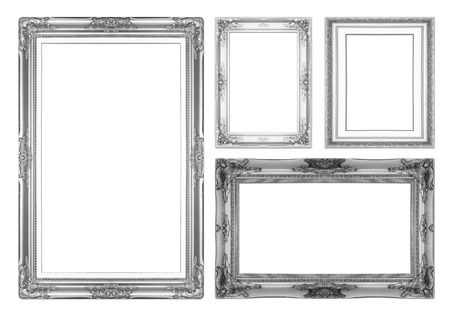 Silver antique picture frames. Isolated on white background