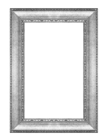 baroque picture frame: old antique vintage silver frames. Isolated on white background
