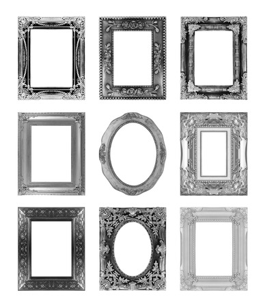 Silver Antique Vintage Picture Frames Isolated On White Background