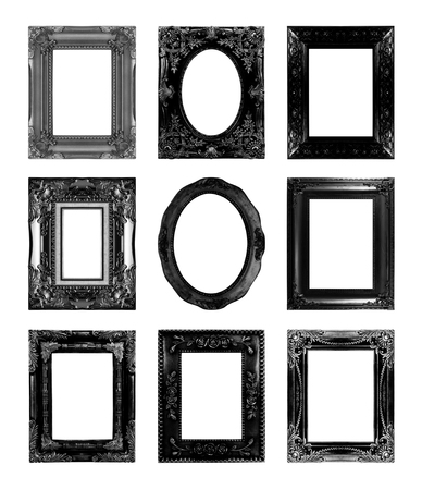 Black Antique Picture Frames. Isolated On White Background Stock ...