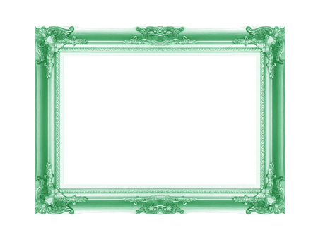 Old green vintage picture frame with a decorative pattern on white background photo