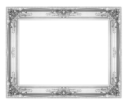 old antique silver picture frames. Isolated on white background Archivio Fotografico