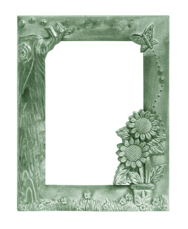 old green vintage picture frame .Isolated on white background photo