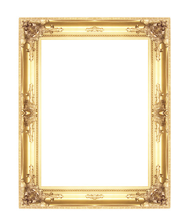 old antique gold picture frames. Isolated on white background photo