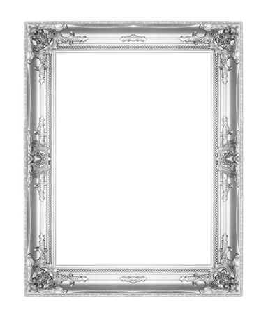 picture frame on wall: old antique silver picture frames. Isolated on white background Stock Photo