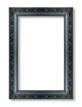 baroque frame: black picture frames. Isolated on white background Stock Photo