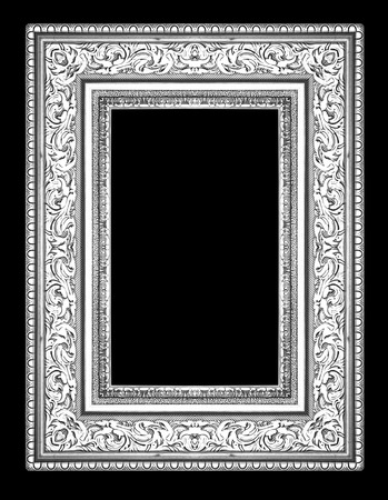 Silver Antique Vintage Picture Frames Isolated On Black Background