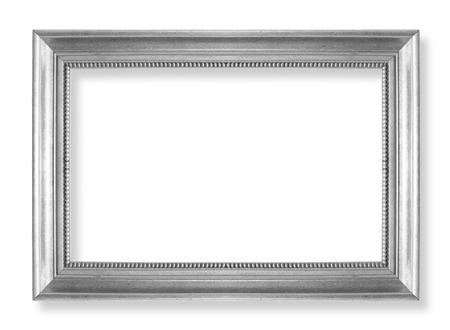 zilveren fotolijstjes. Geà ¯ soleerd op witte achtergrond Stockfoto