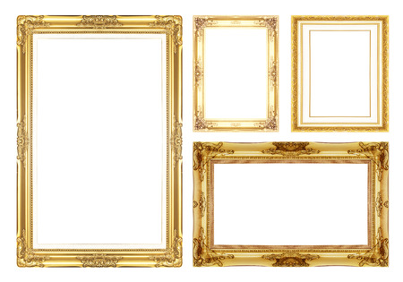 gold antique vintage  picture frames. Isolated on white background photo