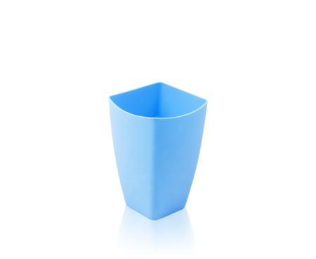 colorful plastic mug  isolated on white background photo