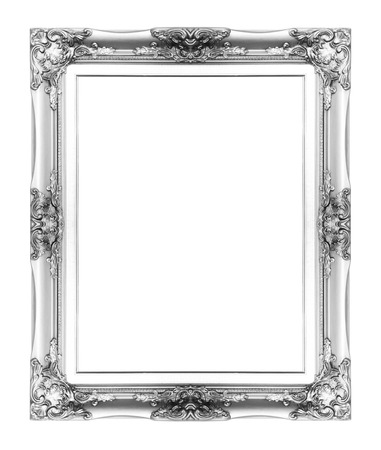 silver antique vintage picture frame. Isolated on white background Stok Fotoğraf