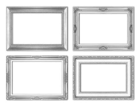 silver antique  picture frames. Isolated on white background Archivio Fotografico