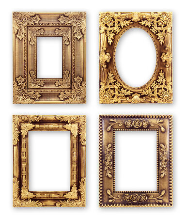 gold Picture frames with a decorative pattern.Isolate on white background photo