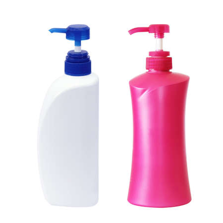 Plastic Bottle pump Of Gel, Liquid Soap, Lotion, Cream, Shampoo on white background photo