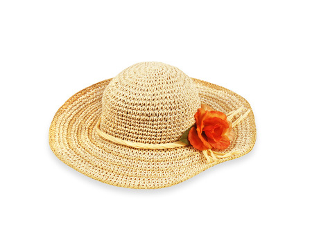 sunhat: Pretty straw hat with flower on white background
