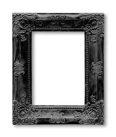 Isolated old black picture frame Archivio Fotografico