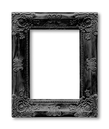 Isolated old black picture frame Stock Photo