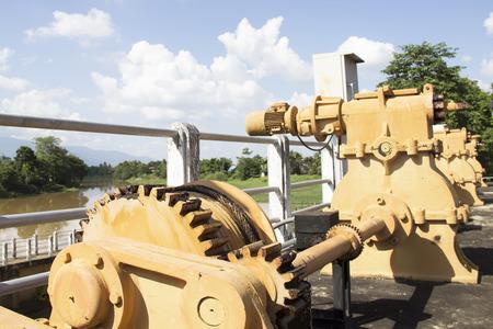 sluice: Mechanical closing the sluice Stock Photo