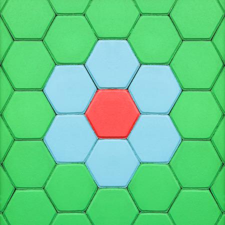Hexagonal brick flooring Stock Photo