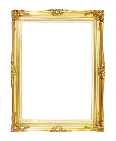 Gold picture frames. Isolated on white background photo