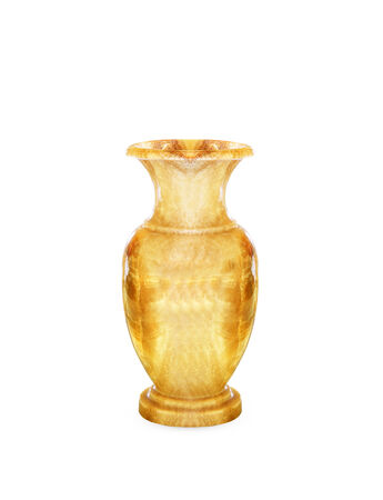 bedeck: Old marble vase isolated on white background.