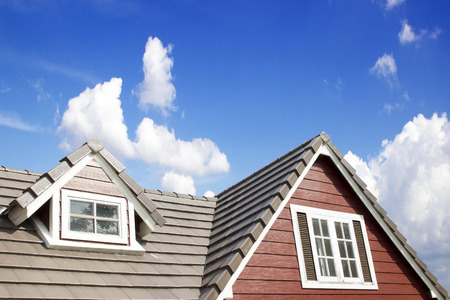 Brown tile roof in garden against blue sky. photo