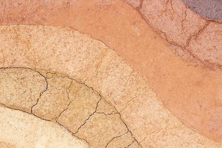 Layer of soil underground ,The color of the soil and the soil layers. photo