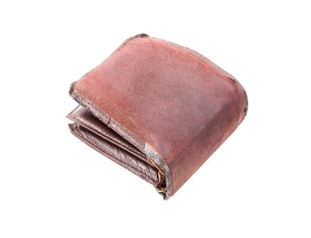 Old wallet isolated on white background photo