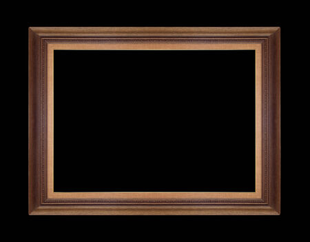 Wooden picture frames. Isolated on black background photo