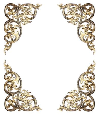Modèle de cadre sculpté de fleurs sur fond blanc Banque d'images - 34196317