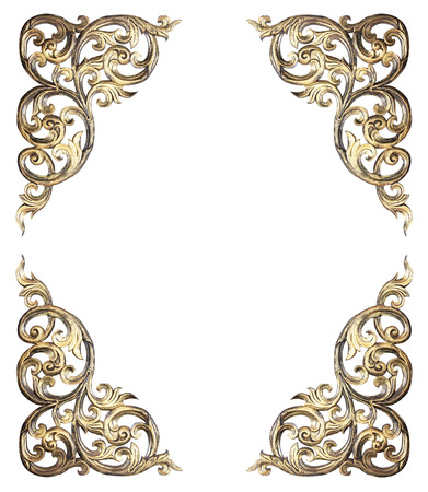 vintage timber: Pattern of flower carved frame on white background Stock Photo