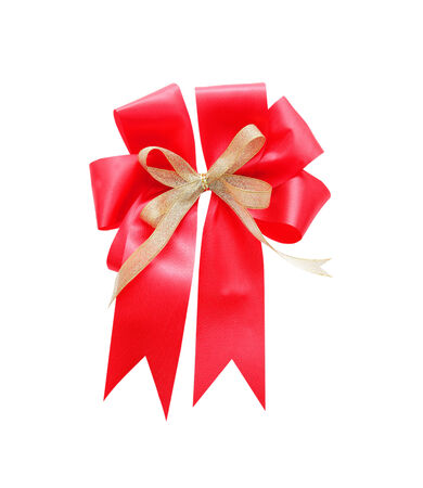Beautiful red satin gift bow, isolated on white photo