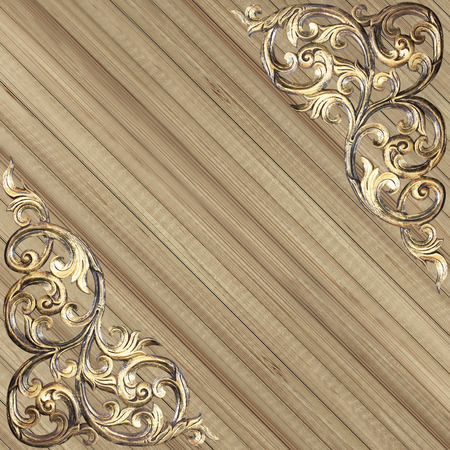 Pattern of wood carve flower on wood background photo