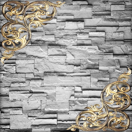 Pattern of wood carve flower on stone wall background  photo