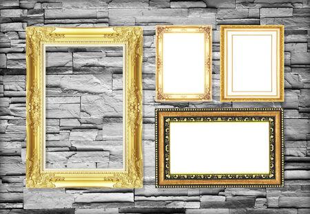 cadre antique: Antique frame sur le mur de fond de pierre