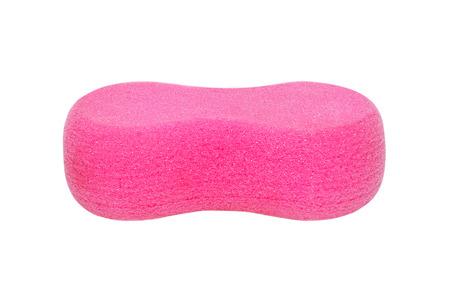 deformation: pink bath sponge on white background