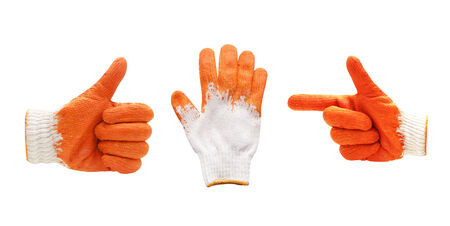Thin work glove shows five fingers. Isolated on a white background photo