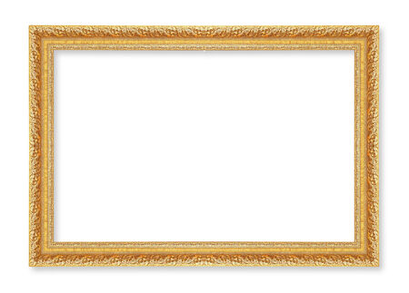 golden texture: gold picture frame. Isolated on white background ; antique golden frame isolated on white background