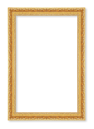 gold picture frame. Isolated on white background ; antique golden frame isolated on white background