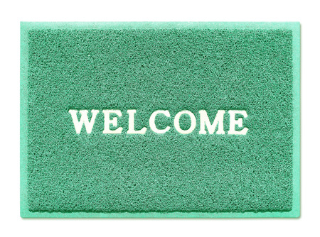 welcome mat: The doormat of welcome text on white background