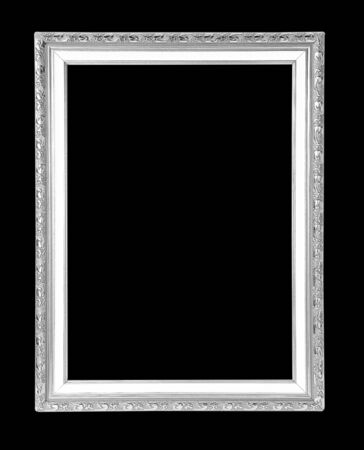 baroque frame: silver picture frame Isolated on black background