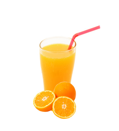Orange juice and slices of orange isolated on white photo